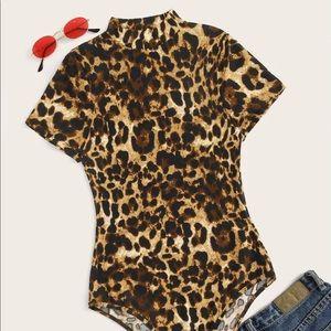 Glamorous Leopard Cheetah Mock Neck Bodysuit